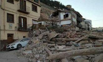 Diverse woningen verwoest door een aardverschuiving in Teruel