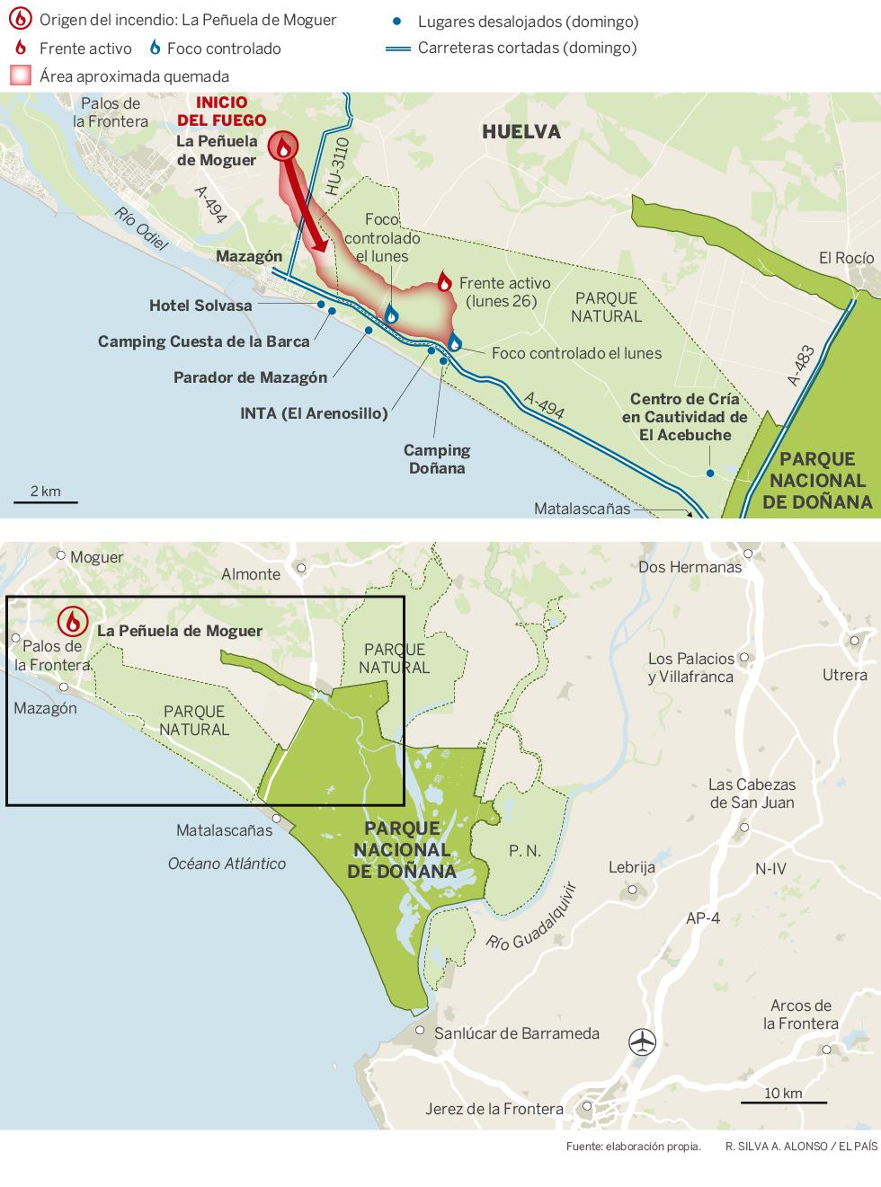 Bosbrand Doñana natuurpark in Andalusië eindelijk onder controle