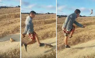 Spaanse politie op zoek naar een man die een konijn als een voetbal wegschopt (video)