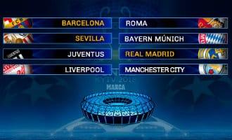 Champions League loting: Barcelona-Rome, Sevilla-Bayern, Juventus-Madrid