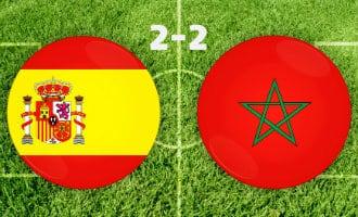 WK-2018: Spanje speelt 2-2 gelijk tegen Marokko maar eindigt als eerste van Groep B