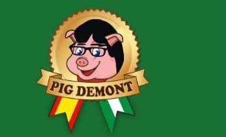 Puigdemont klaagt firma Pig Demont uit Málaga aan vanwege logo met varken, bril en haar