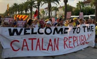 Pro-Catalonië demonstratie in de badplaats Salou