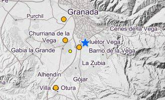 Vier aardbevingen in 24 uur tijd gemeten in en rondom de stad Granada