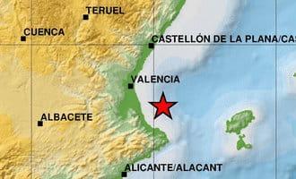 Aardbeving van 4 op Richter schaal voor de kust van Valencia