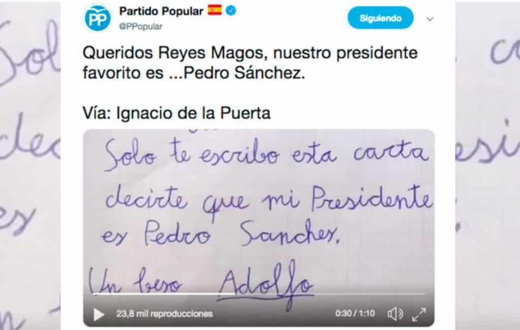"""PP-partij deelt op Twitter """"humoristische"""" video met doodwens premier Spanje"""