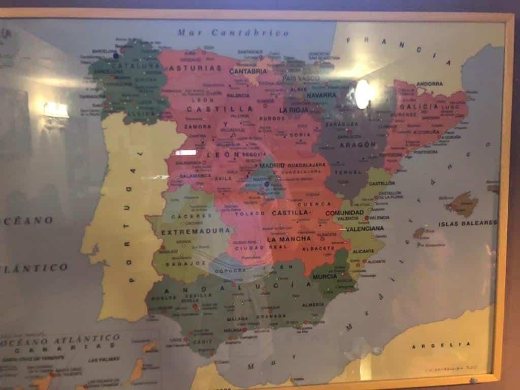 De kaart van Spanje waar Galicië Catalonië is en viceversa