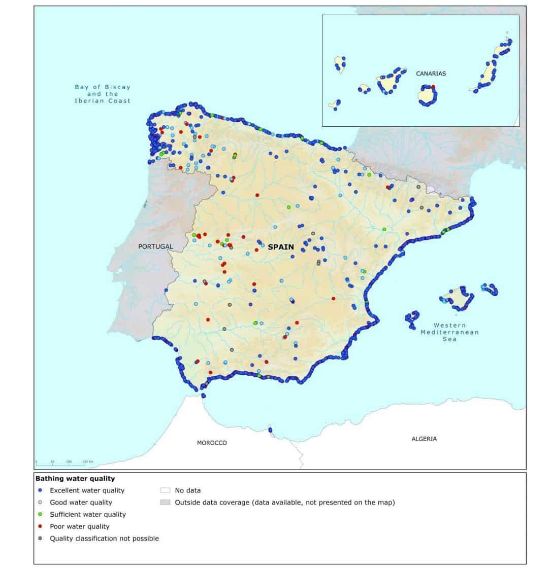 Merendeel stranden Spanje volgens de EU uitstekend van kwaliteit