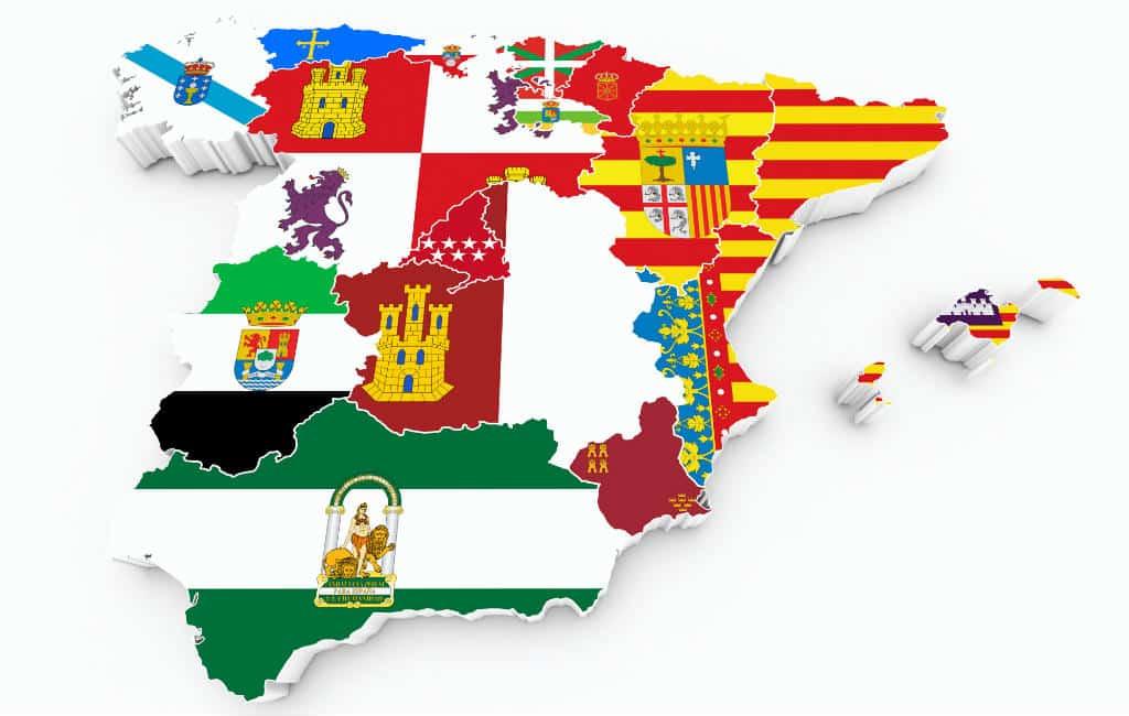 De onderverdeling van Spanje in regio's, provincies en comarca's