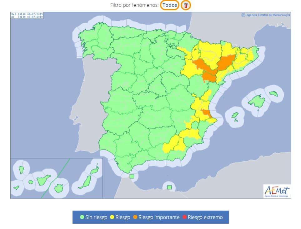 Weer hitte op komst in Catalonië, Aragón en Valencia