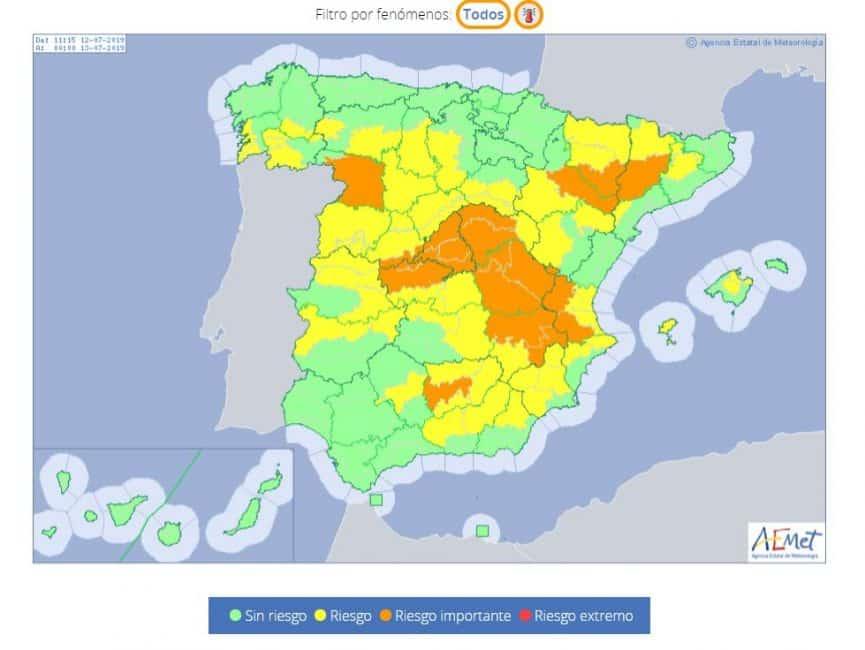 Extreem warm in Spanje met temperaturen boven de 40 graden