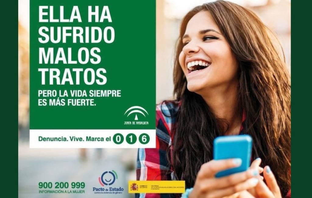 Campagne Andalusië tegen partnergeweld met lachende fotomodellen