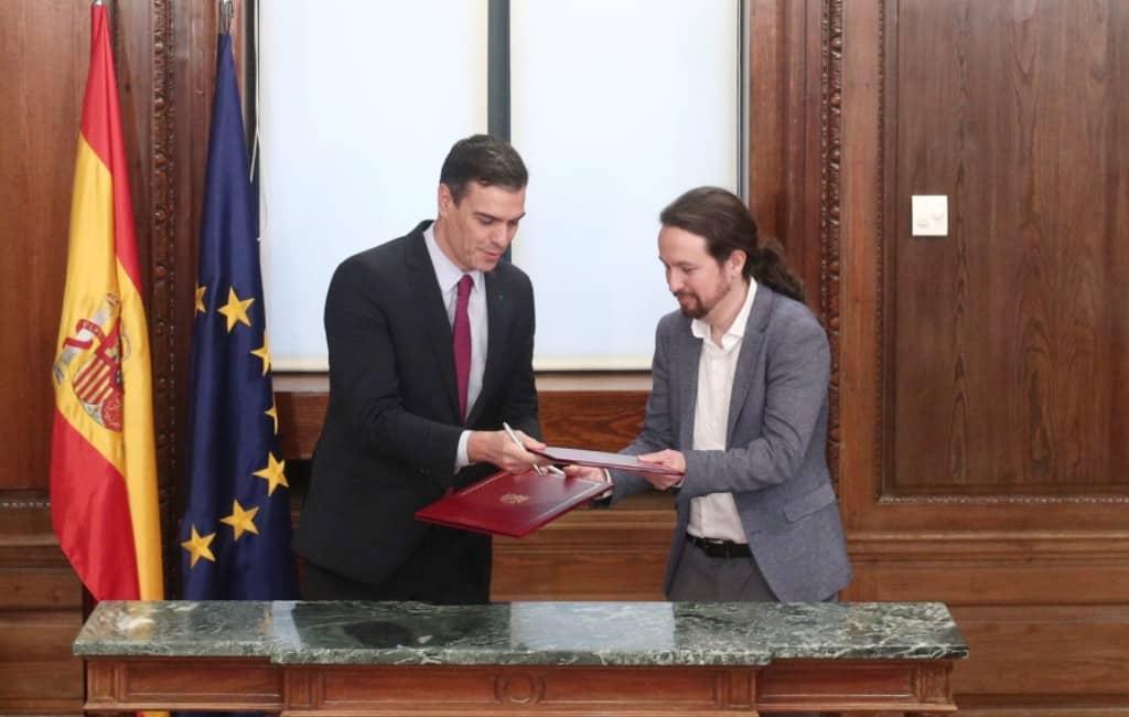 PSOE en Podemos vormen eerste coalitieregering in Spanje
