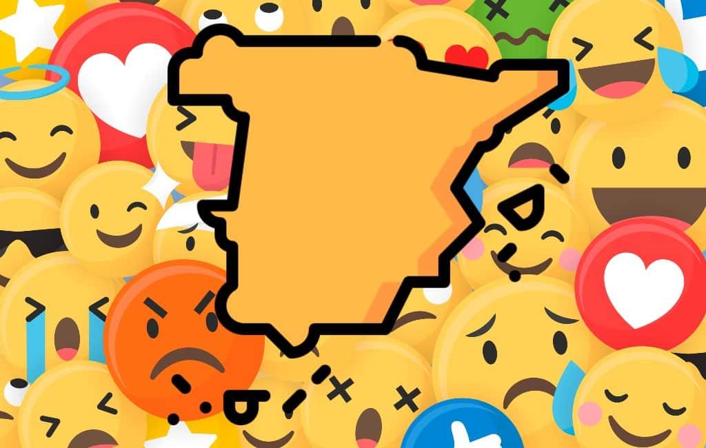 De kaart van Spanje opgebouwd uit emoji's en stereotypen