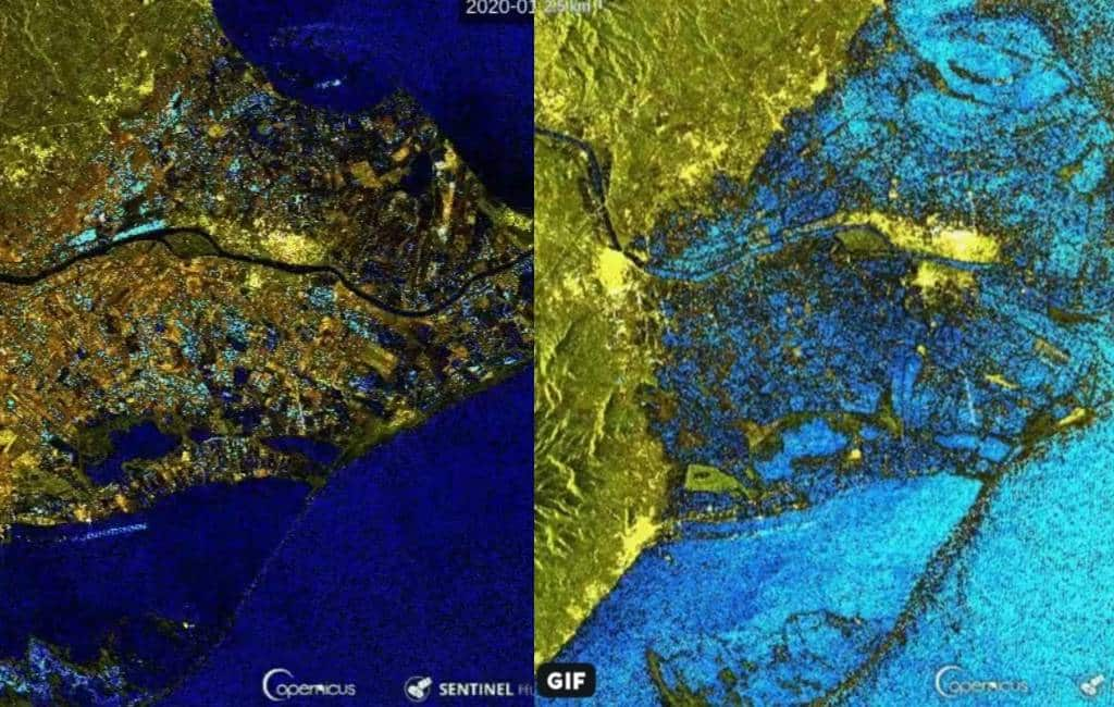 Ebro delta in Tarragona voor en na het noodweer