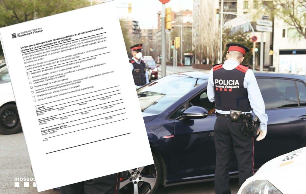 Document om de straat op te gaan verplicht in Catalonië