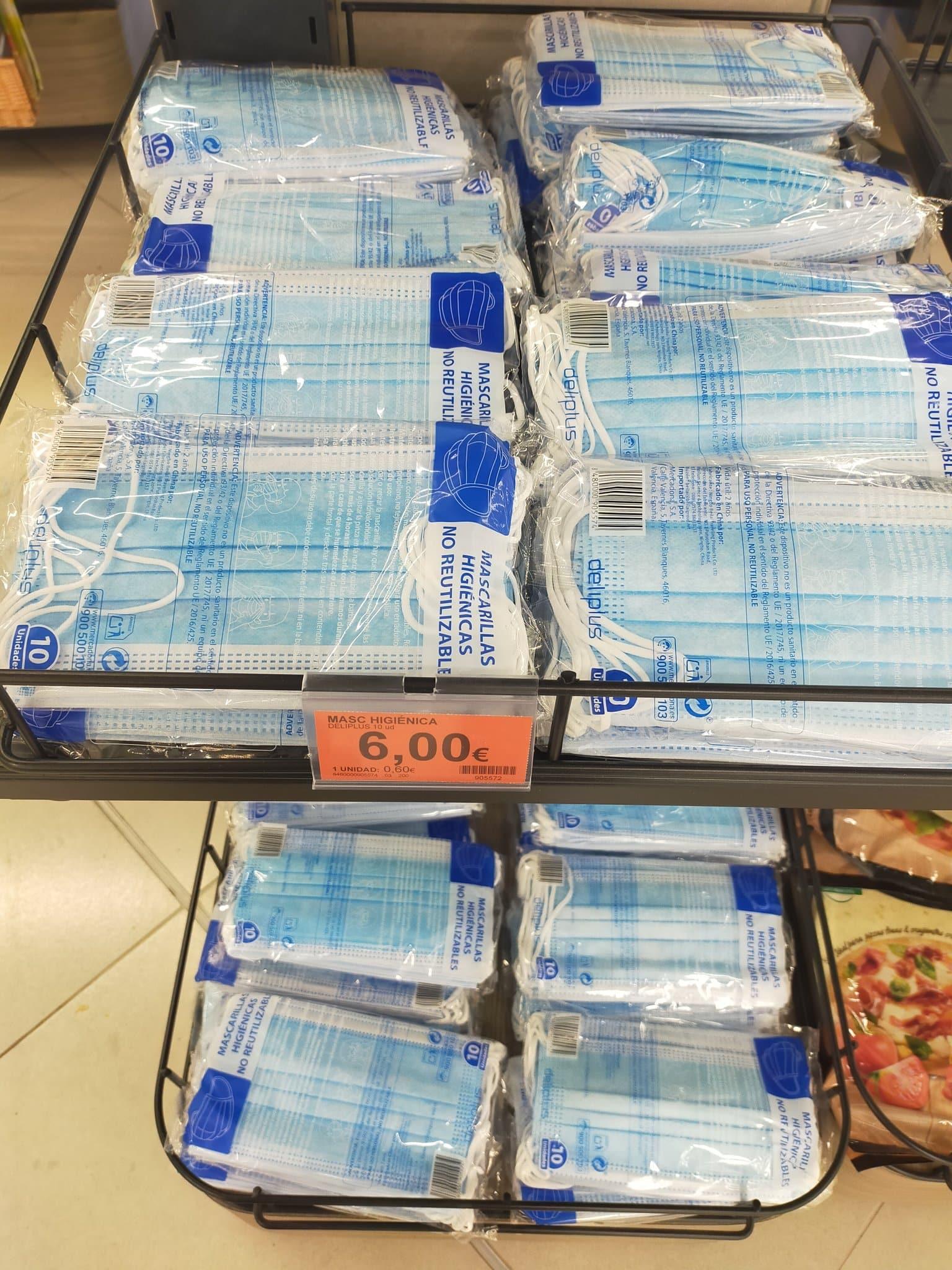 Mercadona supermarkt begonnen met verkoop mondkapjes in Spanje