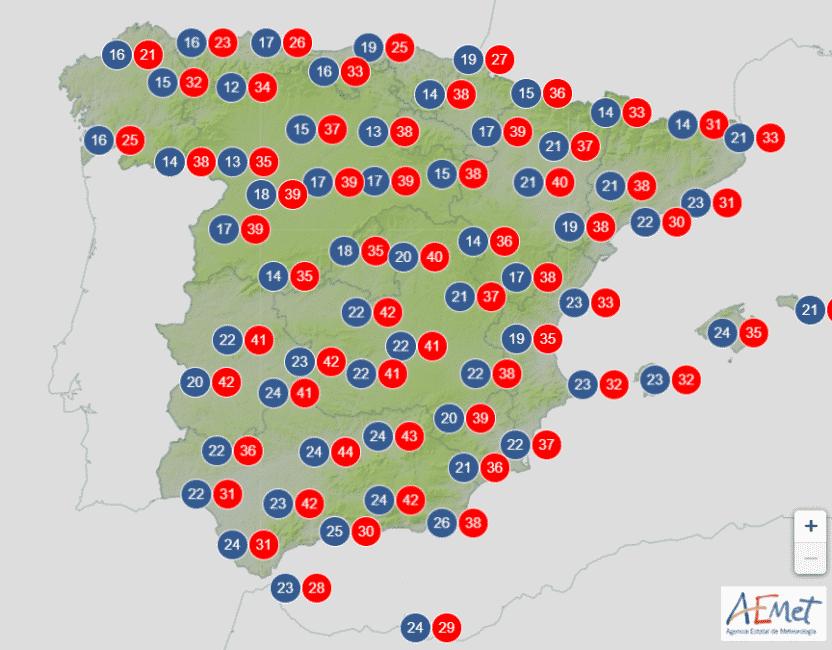 Extreem hoge temperaturen tot 44 graden verwacht dit weekend in Spanje