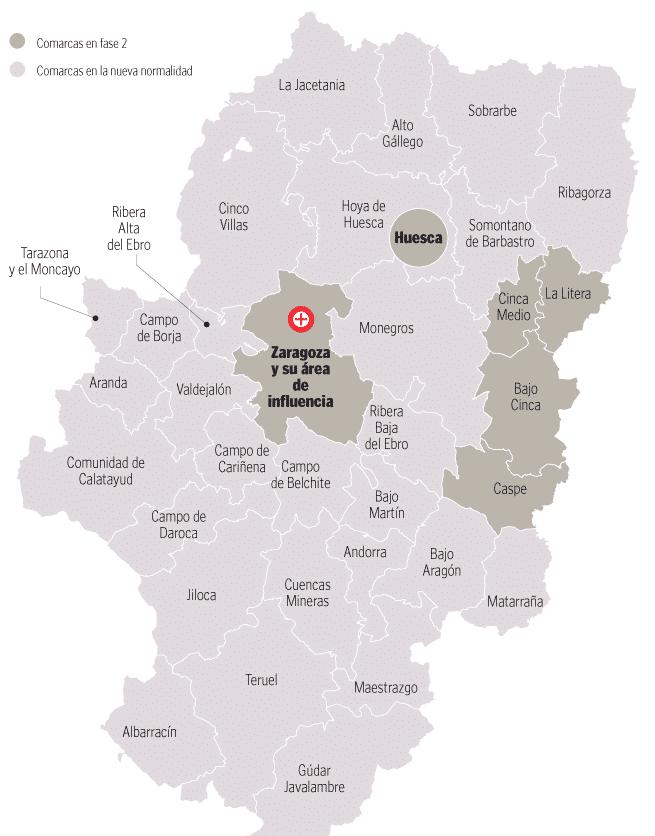 Steden Zaragoza en Huesca en diverse dorpen terug naar de-escalatiefase 2