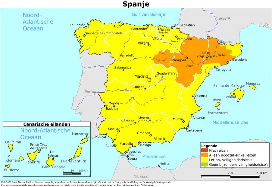 Nederland past reisadvies Spanje aan vanwege corona-uitbraken (UPDATE)