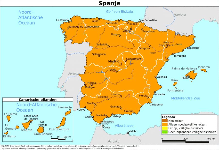 Reisadvies Nederland voor HEEL Spanje op ORANJE !!!!