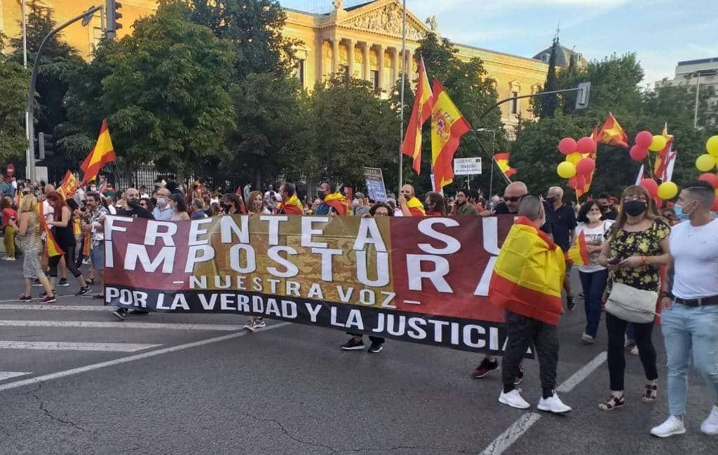 Demonstratie in Madrid tegen regering-Sánchez en het corona-beleid