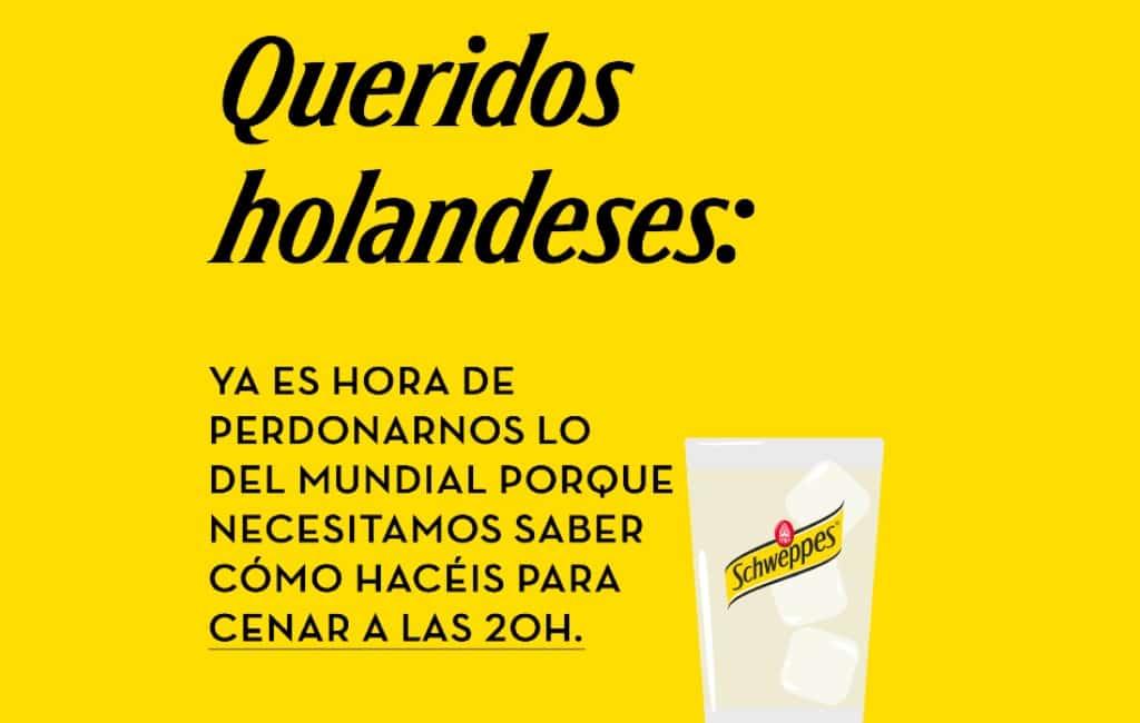 Schweppes moedigt Spanjaarden aan om 20 uur te dineren