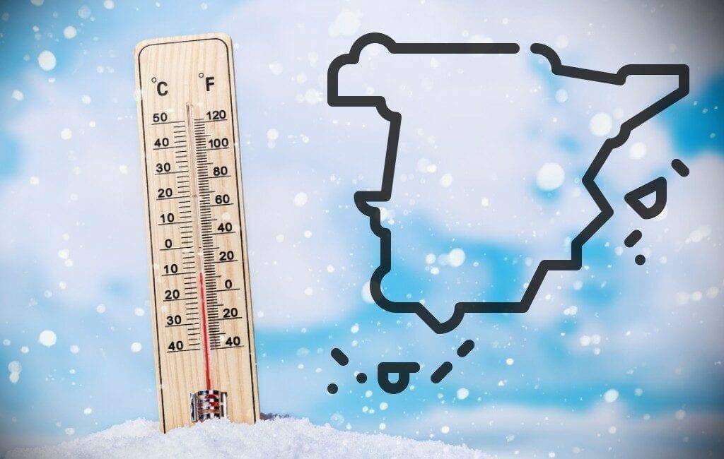 Hoogste (+23) en laagste (-13) temperaturen in Spanje maandag 4 jan