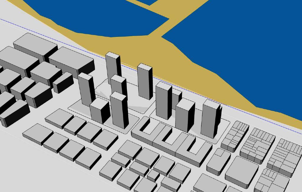 Nieuw bouwplan met negen 23 verdiepingen tellende flats voor de kust van Torrevieja