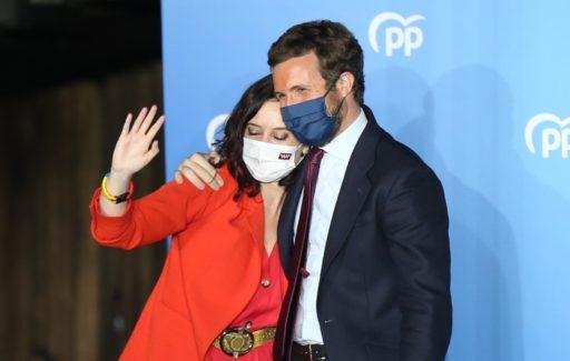 Partido Popular en Ayuso winnen ruimschoots regionale verkiezingen Madrid regio