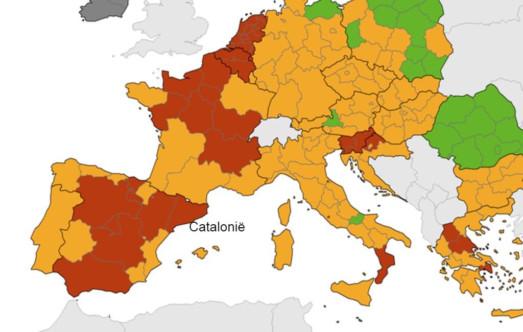 Geeft België de Catalonië regio maandag weer een rood reisadvies?