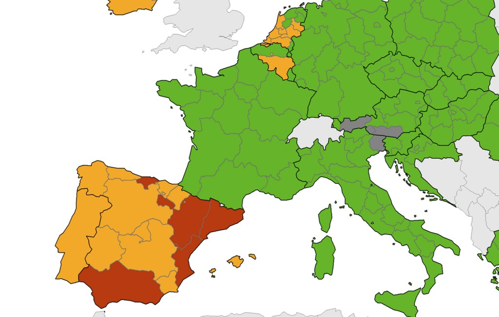 Nieuwe corona-kaart Europees Centrum voor ziektepreventie met meer rode gebieden in Spanje