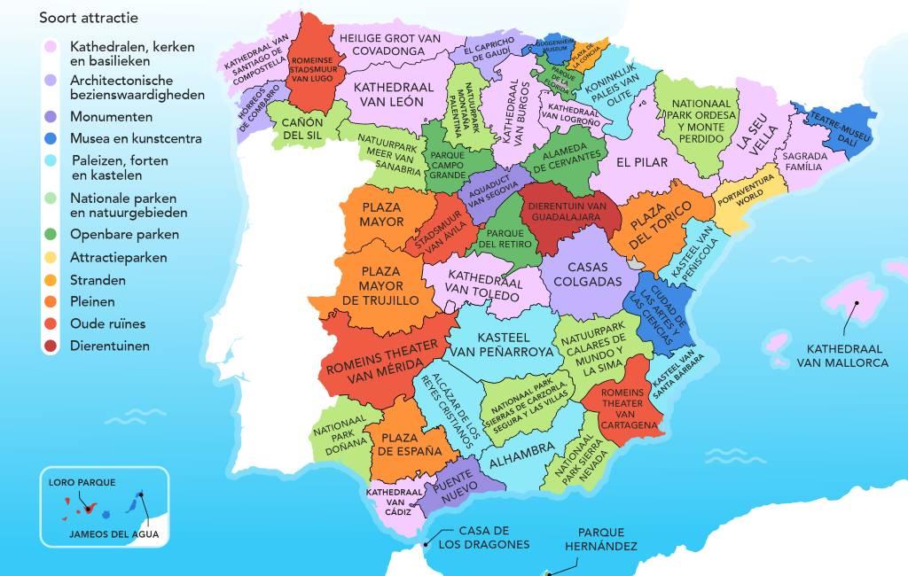 De populairste toeristische attractie in elke provincie van Spanje op kaart