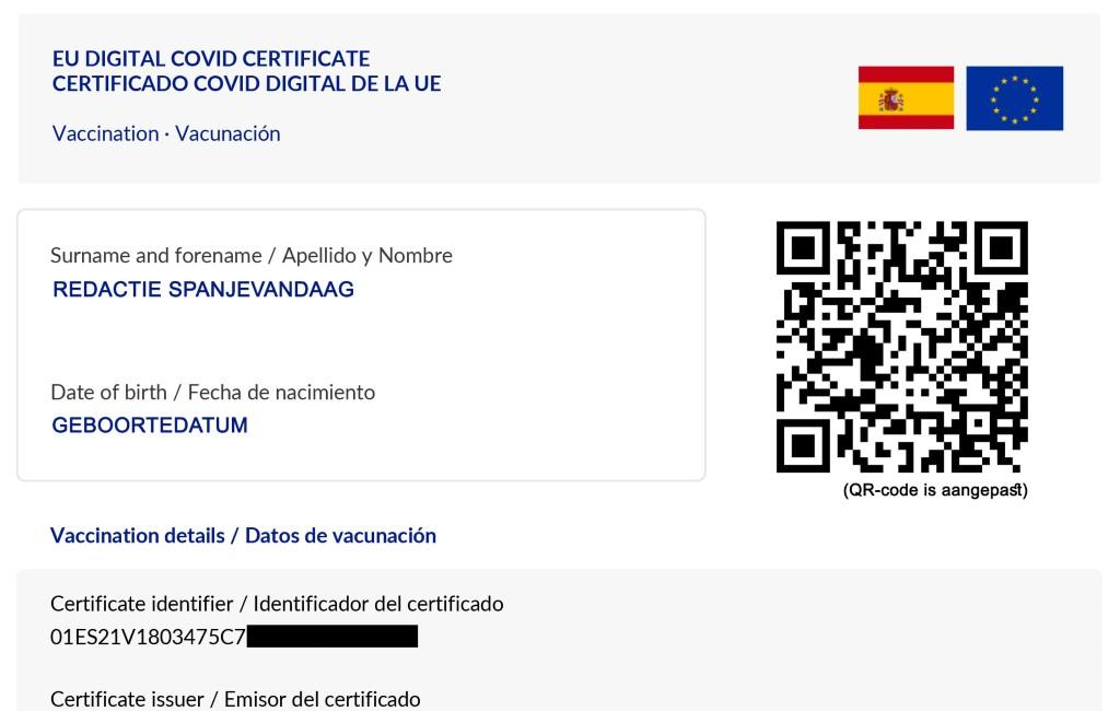 Meer dan 3,2 miljoen digitale EU-Covid certificaten aangemaakt in Spanje
