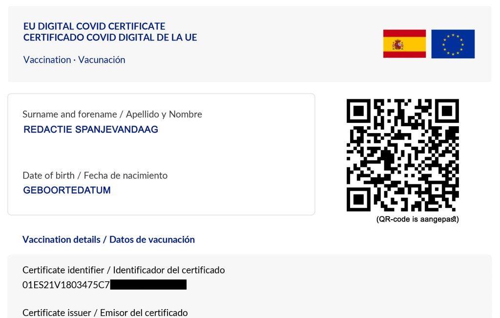 Circa 18,2 miljoen digitale EU-Covid certificaten aangemaakt in Spanje
