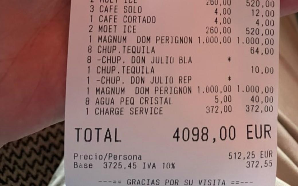 Politicus haalt uit naar Twitter gebruiker die klaagt over restaurantrekening van 4.098 euro