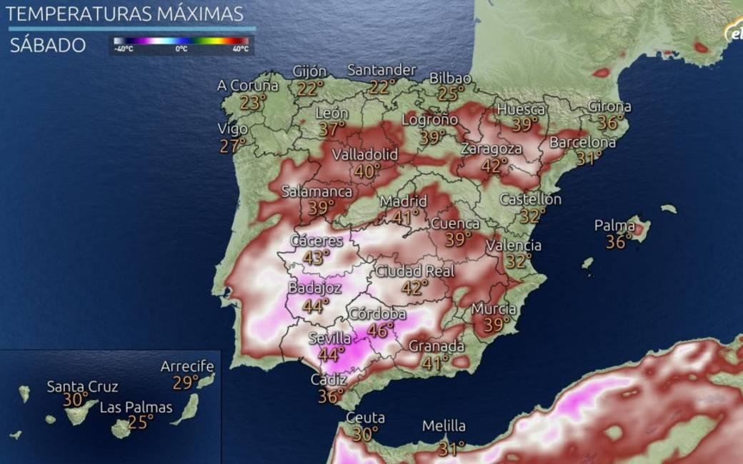 Eerste echte hittegolf op komst in Spanje met temperaturen tot 46 graden