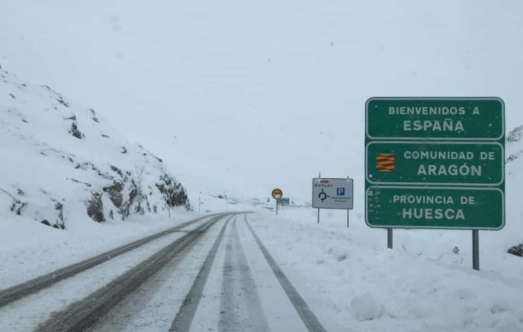 Verkeersproblemen dankzij sneeuw in de provincie Huesca