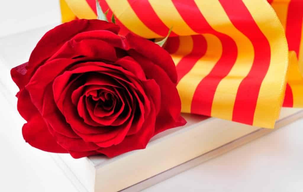 Boeken en rozen tijdens Sant Jordi in Catalonië
