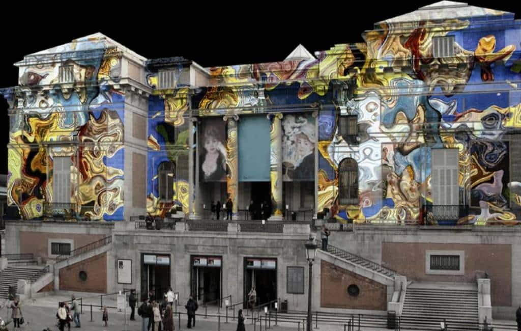 Videomapping voorstelling op gevel Museo El Prado in Madrid