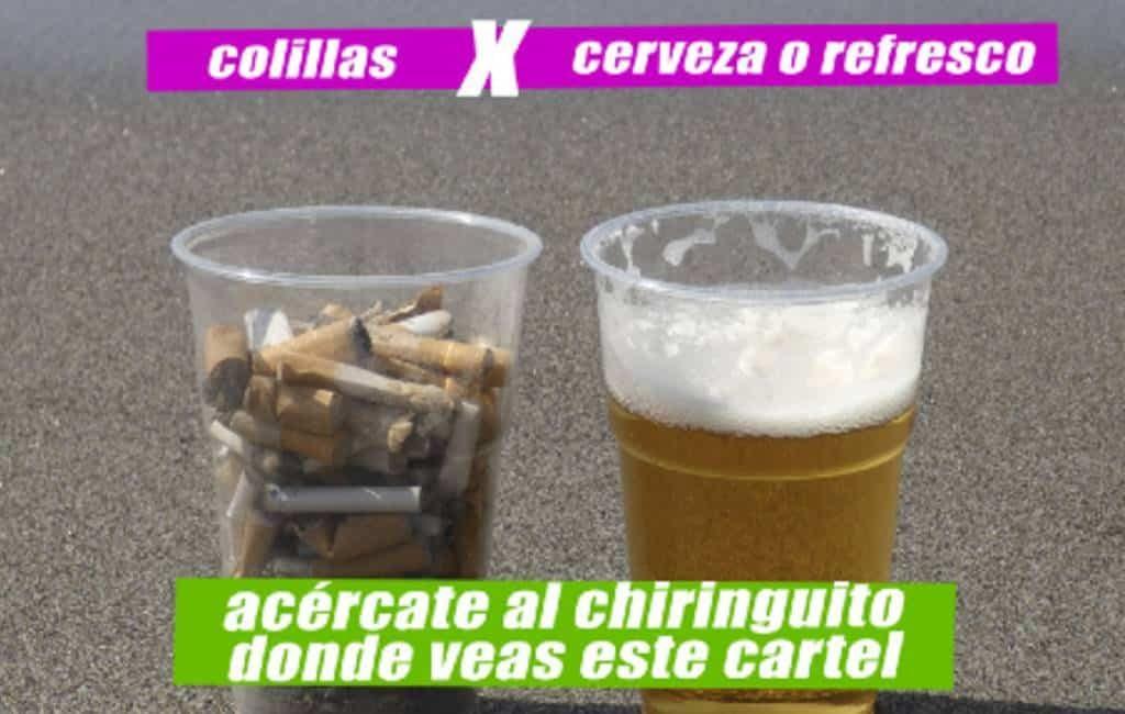 Gratis bier of fris in ruil voor sigarettenpeuken in Estepona