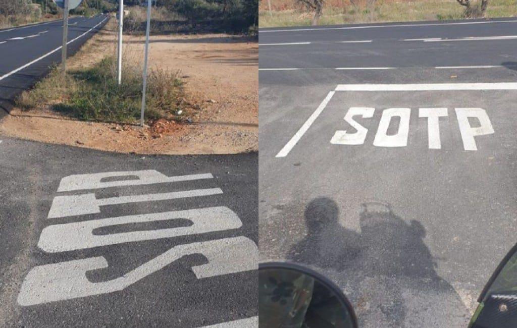 SOTP in plaats van STOP op weg tussen Jalón en Benissa