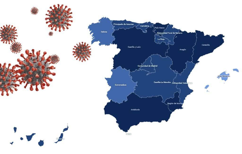 Interactieve corona-maatregelen kaart Spaanse Ministerie van Volksgezondheid