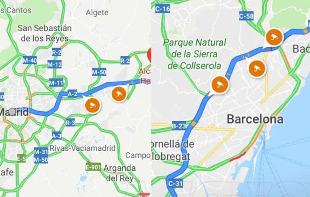 Spaanse verkeersdienst waarschuwt Google Maps om mobiel flitsen