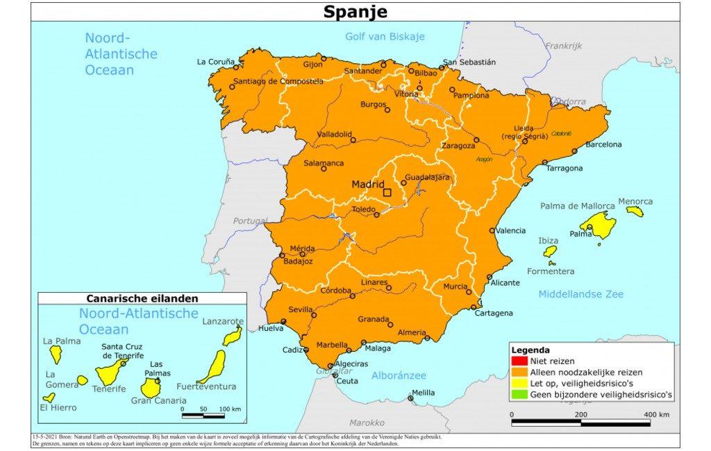 Nederlands reisadvies Spanje vanaf 15 mei: Balearen en Canarische Eilanden op geel