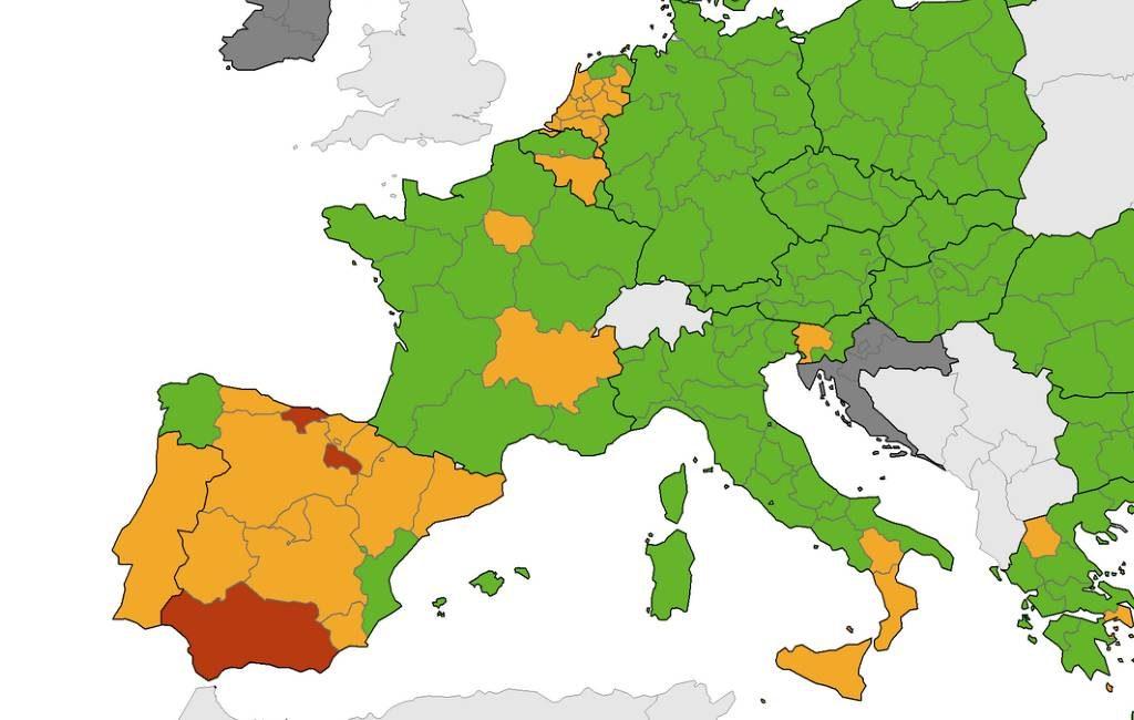Nieuwe corona-kaart Europees Centrum voor ziektepreventie met meer oranje gebieden in Spanje
