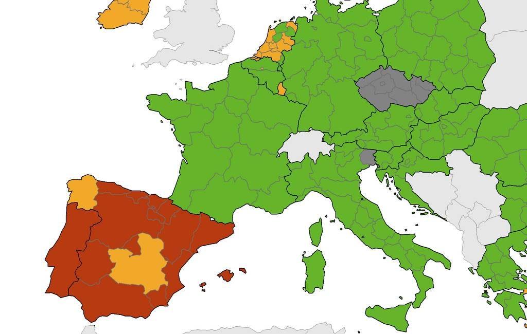 Nieuwe corona-kaart Europees Centrum voor ziektepreventie met bijna heel Spanje ROOD