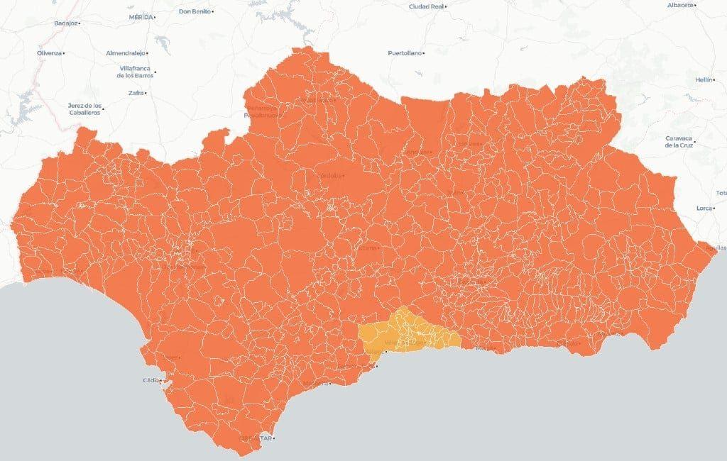 Heel Andalusië op 34 gemeenten in de provincie Málaga na in alarmniveau 4