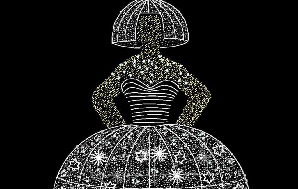 In plaats van kerstbal een verlichte 'menina' in Madrid