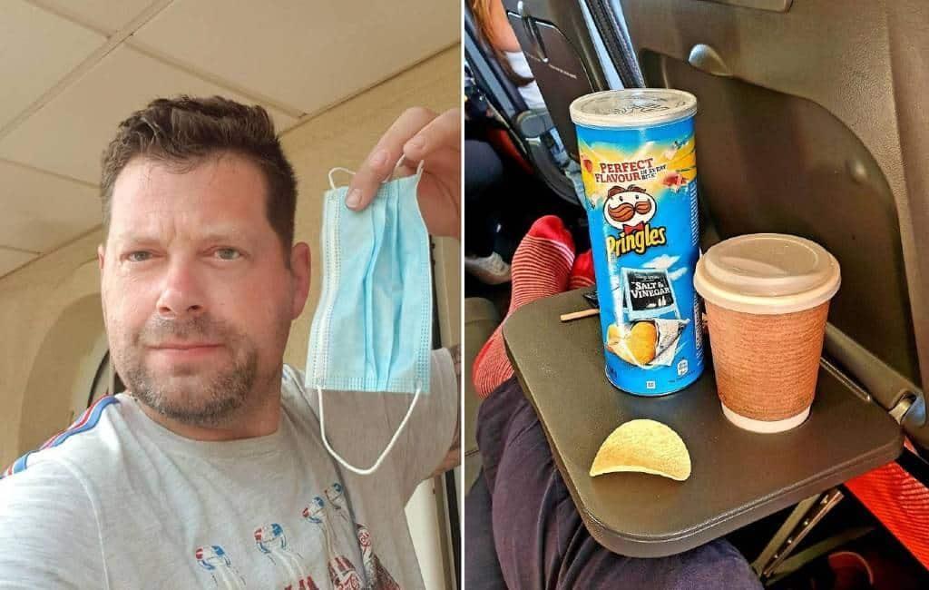 Britse man eet de hele vlucht naar Tenerife chips om geen mondkapje te dragen
